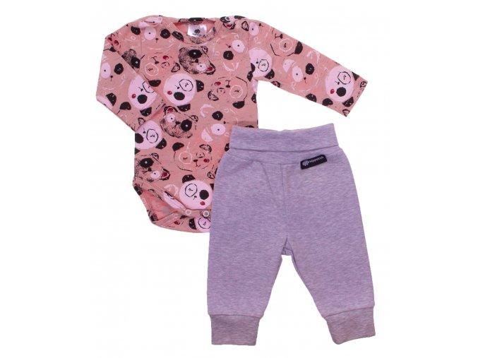 Oblečení pro miminka, kojenecká souprava Panda růžová. Dětské tepláky pro miminka v šedé barvě. Pohodlné a příjemné tepláčky legínového střihu, který perfektně sedí. Body s dlouhým rukávem s potiskem pandy.