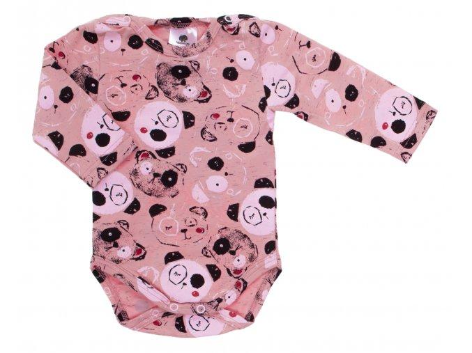 Oblečení pro miminka, kojenecká souprava Panda růžová. Dětské tepláky pro miminka v šedé barvě. Pohodlné a příjemné tepláčky legínového střihu, který perfektně sedí. Body s dlouhým rukávem s potiskem pandy. Bo