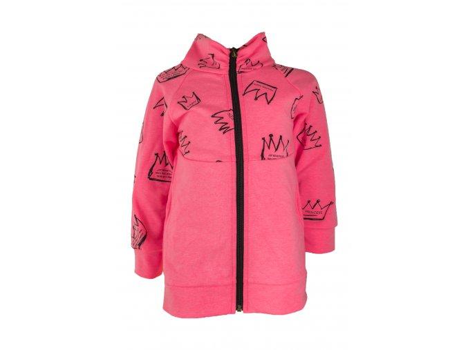 Dívčí mikika Queen. Oblečení pro děti, kojenecká a dětská mikina neonově růžová. Kvalitní teplákovina růžové barvy s černým zipem. Řasení u krku, funčkní kapsy. Vyrobeno v České Republice.