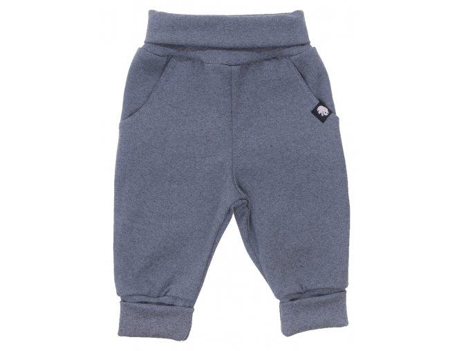 Oblečení pro miminka, kojenecké polodupačky Hippokids classic Melír petrolej. Jednobarevné moderní tepláčky s ohrnovacím pase a funkčními kapsičkami. Oblečení pro děti. Přijemné modré polodupačky moderního střihu.