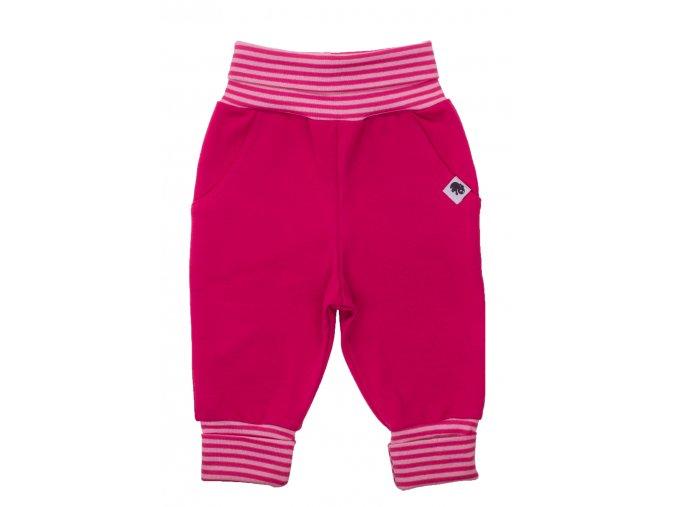 Oblečení pro miminka, kojenecké a dětské polodupačky. Tepláčky s ohrnovacími náplety. Ohrnovací pas a nohavice pro zvětšení velikosti. Tepláčky růžové barvy pro vaší holčičku. Teplačky pro miminka.