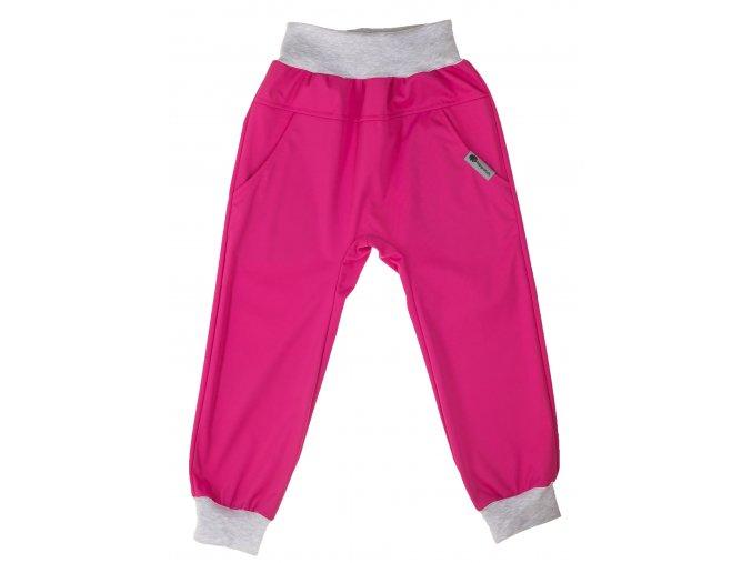 Jarní softshellové kalhoty. Oblečení pro miminka, oblečení pro děti, tenké softshellové kalhoty pro děti. Softshellové kalhoty, kalhoty, holka, kluk, neutrální barvy, neutrální, univerální. Baby růžová. Šedý pas.