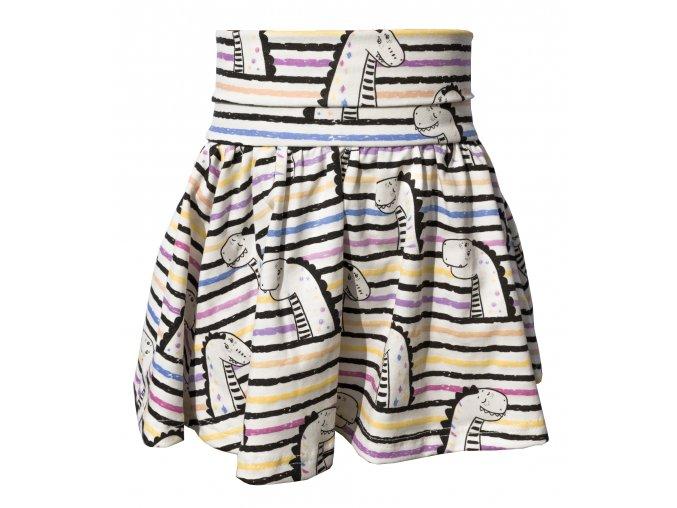 Dívčí kouzelná letní sukně. Měnící se látka s potiskem lochnesky. Zvířátkový motvi na dívčí kojenecké sukni. Ohrnovací pas na sukni. Oblečení pro miminka a pro děti. Barevná