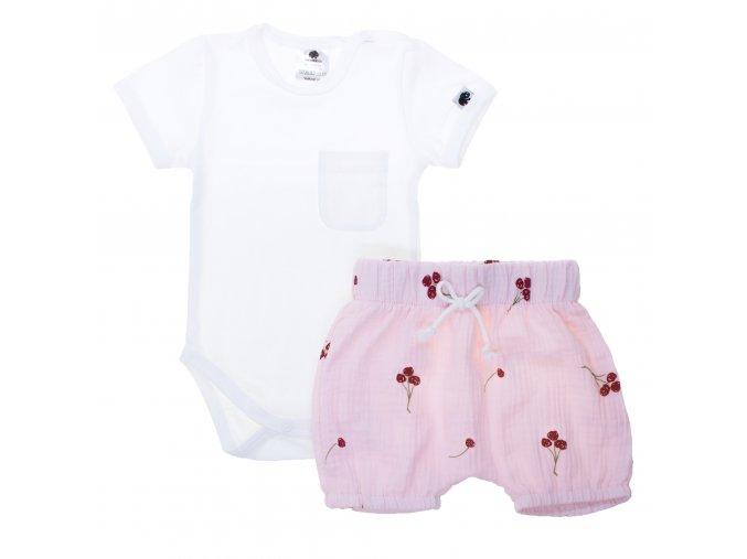 Kojenecká letní souprava Třešně rose. Letní souprava pro miminka. Jednobarevné bílé body s krátkým rukávem a náprsní kapsičkou. Růžové kraťasy z gázoviny. Oblečení pro miminka a pro děti. Letní set. Třešinky.