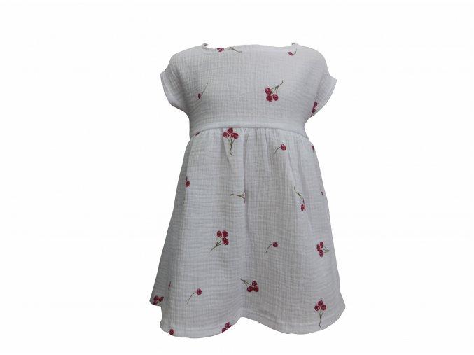 Dívčí šaty s krátkým rukávem Hippokids Gázovina třešně bílá. Kvalitní české oblečení. Oblečení pro miminka. Oblečení pro děti. 100% bavlna. Letní šaty pro holky. Příjemná gazovina potiskem červených tření.