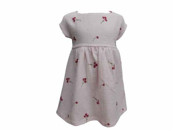 Dívčí šaty s krátkým rukávem Hippokids Gázovina třešně růžová. Kvalitní české oblečení. Oblečení pro miminka. Oblečení pro děti. 100% bavlna. Letní šaty pro holky. Příjemná gazovina potiskem červených třešní.