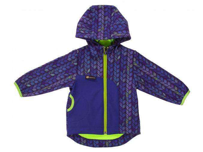 Softshellová bunda Blade modrá. Kojenecé oblečení. Dětské oblečení. Dětská a kojenecká bunda. Bunda s kapucí pro kluky. Modrá softshellová bunda s dlouhým rukávem. Nepromokavá bunda. Neonový zelený zip a lemování.