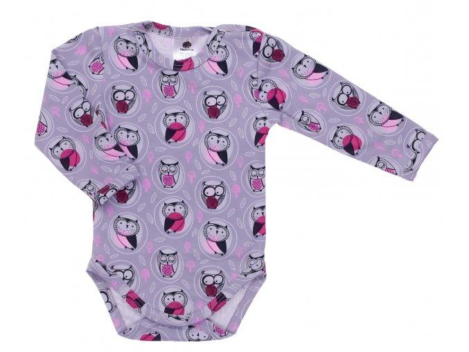 Kojenecká souprava Sova růžová. Kojenecké oblečení. Dětské oblečení. Dětské a kojenecké oblečení. Oblečení pro miminka. Souprava pro holčičky. Body s dlouhým rukávem s motivem soviček. Jednobarevné tepláčky. Body
