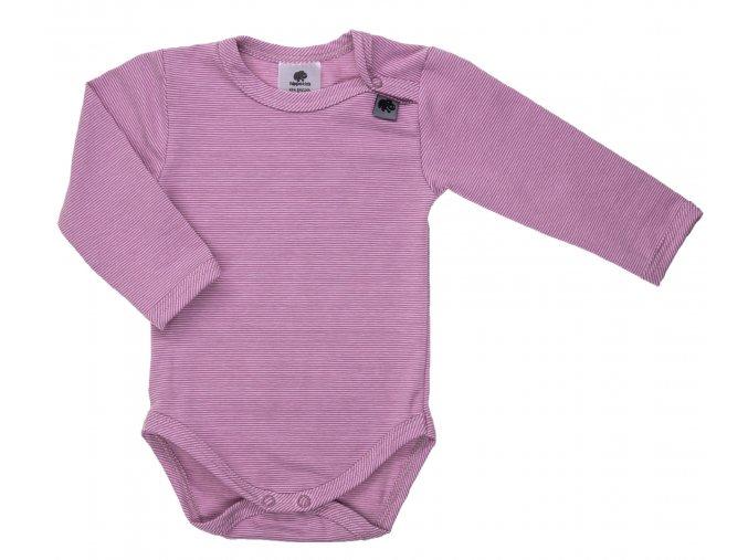 Kojenecké body s dlouhým rukávem Retro růžová. Kojenecké a dětské body. Oblečení pro děti. Oblečení pro miminka. Pro kluky a pro holky. Proužkované body. Body. Neutrální. Růžové proužkované bodyčko. Růžová.