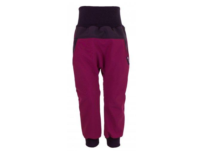 Zimní softshellové kalhoty Baby color vínová. Kojenecké a dětské softshellové kalhoty.Kojenecké a dětské oblečení. Kvalitní české oblečení. Vínové kalhoty. Kalhoty pro holky. Bavlněný náplet v pase.