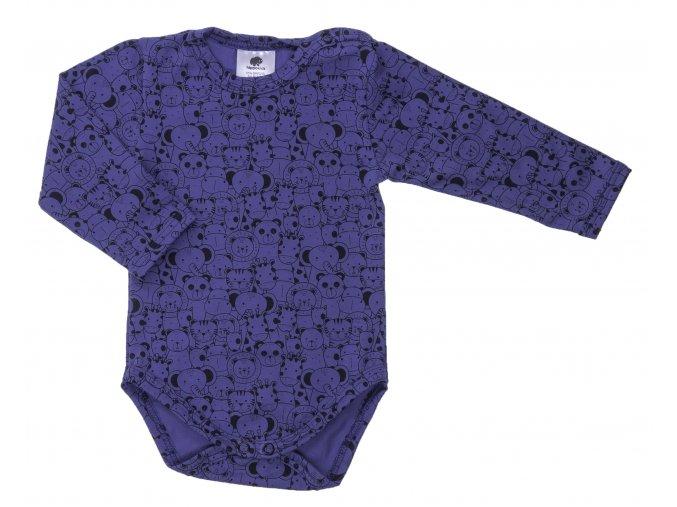 Kojenecké body Zoo modré. Klučíčí kojenecké body. Klučíčí bodýčko. Body s dlouhým rukávem. Zvířátka na kvalitním oblečení. Oblečení pro miminka. Kojenecké a dětské oblečení. Kvalitní české oblečení. Modré.