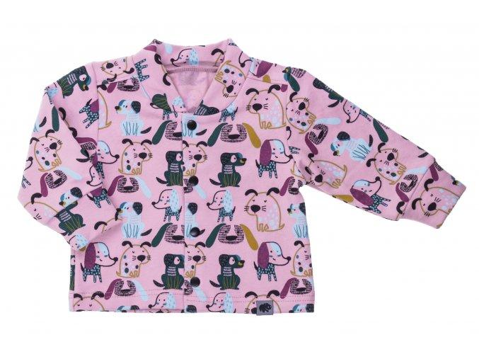 Kojenecký zateplený kabátek Pejsek růžová. Zimní a podzimní kabátek pro miminka. Růžový kabátek. Vrchní bundička. Motiv s pejsky. Rozepínání na patentky. Růžový kabátek pro holčičky. Počesané oblečení. Pro miminka