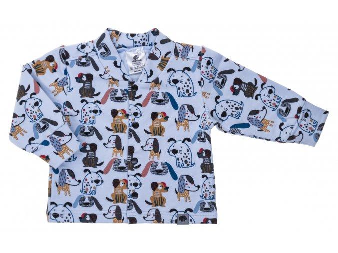 Kojenecký zateplený kabátek Pejsek modrá. Zimní a podzimní kabátek pro miminka. Modrý kabátek. Vrchní bundička. Motiv s pejsky. Rozepínání na patentky. Modrý kabátek pro kluky. Počesané oblečení. Pro miminka.