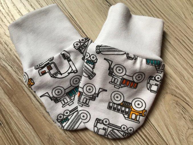 Kojenecké rukavice pro miminka Náklaďák. Bavlněné rukavice. Bavlněné bílé náplety. Rukavice proti škrábání. Neutrální rukavice. Pro děti a kojence. Oblečení pro miminka. Oblečení pro děti.