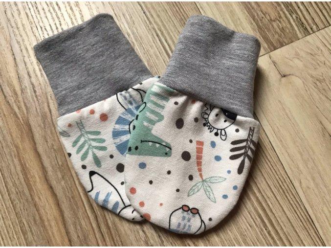 Kojenecké rukavice pro miminka Krokodýl Krémová. Bavlněné rukavice. Bavlněné šedé náplety. Rukavice proti škrábání. Neutrální rukavice. Pro děti a kojence. Oblečení pro miminka. Oblečení pro děti.