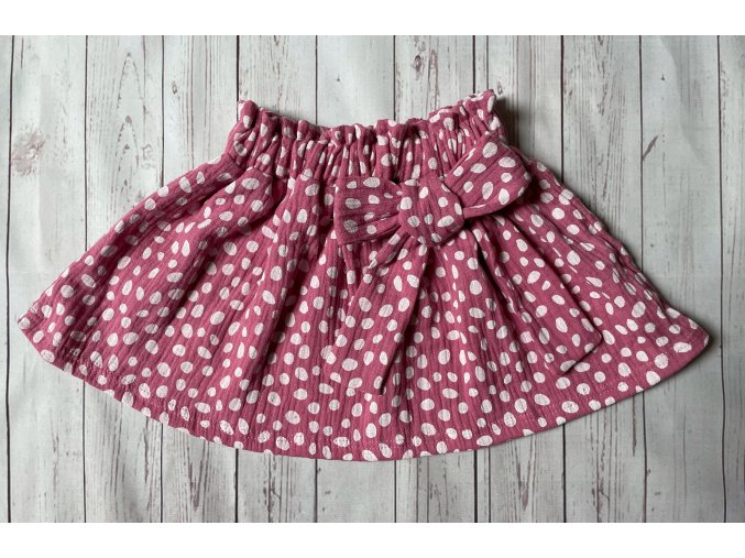 Dívčí sukně z gázoviny Puntík. Kojenecké sukně. Puntíkové sukně pro holky. Růžové sukně. Mašle. Příjemná gázovina. Oblečení pro miminka. Oblečení pro děti. Kojenecké oblečení. České oblečení.