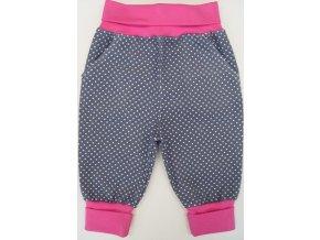 Manšestrové kojenecké tepláčky Point šedá pink