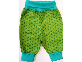 Manšestrové kojenecké tepláčky Star zelená