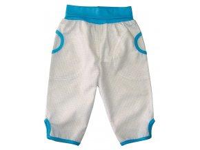 Dětské letní plátěné kalhoty kostka krémová 313c94dead