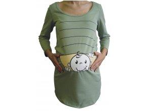 Těhotenské triko BABY oliva