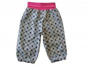 5bd9072fe13 Dětské letní plátěné kalhoty Hvězdice růžová