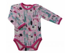 oblečení pro miminka, kojenecké oblečení, kojenecké body Hippkodis, Lama růžová (2)