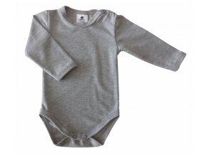 oblečení pro miminka, kojenecké oblečení, kojenecké body, body s dlouhým rukávem, jednobarevné, šedá, melír