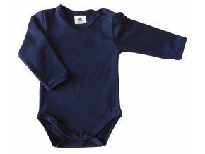 oblečení pro miminka, kojenecké oblečení, kojenecké body, body s dlouhým rukávem, jednobarevné, tmavá, modrá