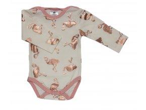 Oblečení pro miminka, kojenecké body Hippokids Flamingo s motivem plameňáka