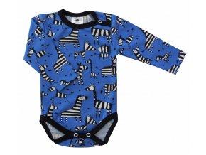 Kojenecké body Hippokids Zebra, oblečení pro miminka, kojnenecké body s dlouhým rukávem modré barvy