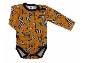 Kojenecké body s dlouhým rukávem Hippokids Zebra, Oblečení pro miminka orange