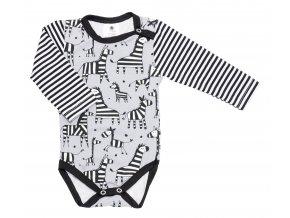 Kojenecké body s dlouhým rukávem pro miminka Zebra Grey Hippokids. Kojenecké oblečení pro miminka.