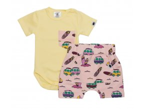 Letní souprava pro miminka, kojenecký letní set pro miminka, kojenecké body, kojenecké kraťasy Surf růžová