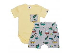 Letní souprava pro miminka, kojenecký letní set pro miminka Surf šedá, Kojenecké body, kojenecké kraťasy surf