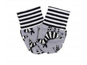 Nová kolekce oblečení pro miminka Zebra. Polodupačky, kojenecká souprava, kojenecké body, kojenecké kraťásky, kojenecké rukavičky s motivem Zebra. Kojenecká rukavičky pro miminka Zebra Grey