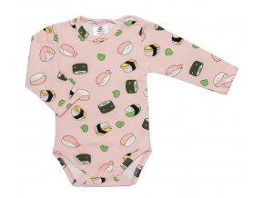 Kojenecké bodyčko pro miminka, bodycko pro miminka sushi růžové