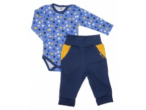 Oblečení pro miminka, kojenecký set body s dlouhým rukávem a polodupačky Hippokids Půlměsíc Blue. Soupravička pro miminka Půlměsíc Blue na modrém podkladu s barevnými půlměsíci je ideálním oblečkem pro vaše miminka.