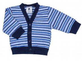Kojenecký bavlněný kabátek pro miminka Dark Blue. Kabátek pro miminka s proužky na patentky je vyrobený z těch nejkvalitnějších českých materiálů.