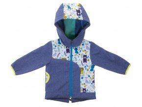 Zimní softshellová bunda Les modrá. Zateplená kojenecká a dětská bunda zateplená fleesem. Oblečení pro miminka, kojenecké soupravy, body, tepláčky, bunda s kapucí a kapsou s motivem zvířátek. Vyrobeno v Česku.