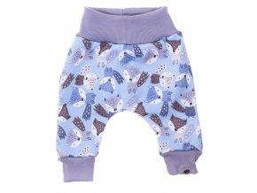 Zateplené polodupačky Fox blue. Zateplené kojenecké a dětské tepláčky zateplené chloupkem. Oblečení pro miminka, kojenecké soupravy, body, tepláčky, bundy, polodupačky s motivem zvířátek. Vyrobeno v Česku.