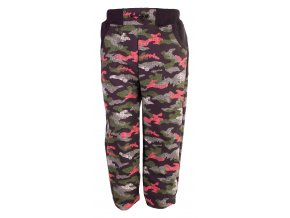 Oblečení pro miminka, dětské a kojenecké zimní softshellové kalhoty Hippokids Neon růžová. Maskáčové zimní softshellové kalhoty s černým bavlněným pasem a gumičkou na stahování pro lepší držení kalhot.