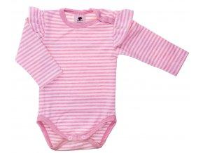 Kojenecké body s dlouhým rukávem Kanýrek rose. Oblečení pro miminka, kojenecké soupravy, body, tepláčky, bundy, polodupačky. Bodyčko s proužky a kanýrem na rameni. Vyrobeno v Česku z té nejkvalitnější bavlny.