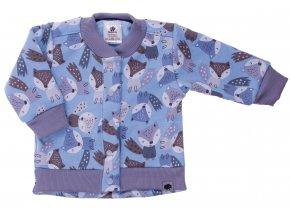 Zateplený kojenecký kabátek Fox blue. Zateplené kojenecké a dětské tepláčky a kabátek vyteplený chloupkem. Oblečení pro miminka, kojenecké soupravy, body, tepláčky, bundy, polodupačky a kabátek s motivem zvířátek.
