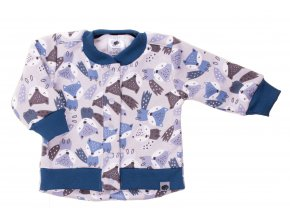 Zateplený kojenecký kabátek Fox grey. Zateplené kojenecké a dětské tepláčky a kabátek vyteplený chloupkem. Oblečení pro miminka, kojenecké soupravy, body, tepláčky, bundy, polodupačky a kabátek s motivem zvířátek.