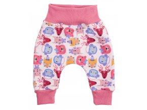Oblečení pro miminka, kojenecké zateplené polodupačky Hippokids Animals rose. Roztomilé zvířátka v podzimních barvách se zimním motivem na světle šedém podkladu zevnitř zateplené příjemným chloupkem, spolu s žebrovaným růžov