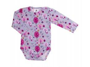 Kojenecké body s dlouhým rukávem Les růžová. Oblečení pro miminka, kojenecké soupravy, body, tepláčky, bundy, polodupačky. Šedé body s růžovými stromy. podzimní motiv. Vyrobeno v Česku z té nejkvalitnější bavlny.