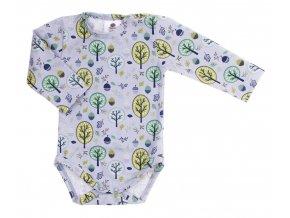 Kojenecké body s dlouhým rukávem Les zelená. Oblečení pro miminka, kojenecké soupravy, body, tepláčky, bundy, polodupačky. Šedé body se zelenými stromy. podzimní motiv. Vyrobeno v Česku z té nejkvalitnější bavlny.