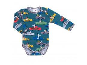 Kojenecké body s dlouhým rukávem Závodník. Oblečení pro miminka, kojenecké soupravy, body, tepláčky, bundy, polodupačky. Modré bodyčko s pejsky a s auty. Vyrobeno v Česku z té nejkvalitnější bavlny.