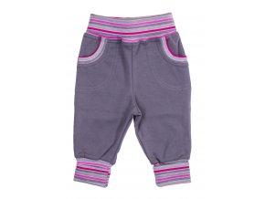 Kojenecké a dětské polodupačky Powerful růžové. Ohrnovací náplety rostoucí tepláčky. Tepláčky šedé barvy s barevným proužkem v pase a na nohavicích. Klasické tepláky pro vaše miminka.