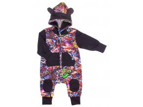 Kojenecký zateplený overal Grafit. Barevný zateplený overal na podzim a zimu. Pohodlné dětské a kojenecké oblečení pro vaše miminka. Oblečení pro miminka na zapínání na patentky.